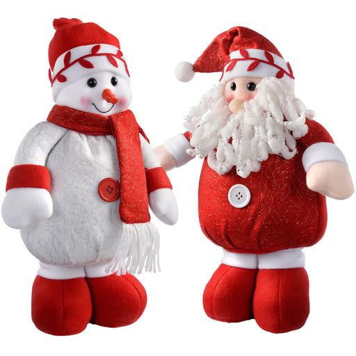 Standing Santa and Snowman Christmas Decoration, 34 cm - Red/White, Set of 2