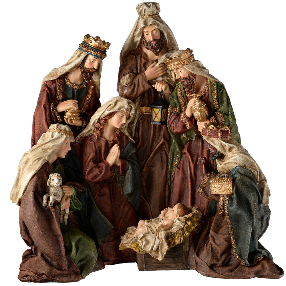 Hand Painted Nativity Scene Christmas Decoration, 50 cm - Large, Multi-Colour