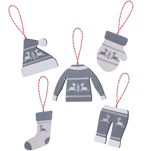Hanging Christmas Winter Clothing Decorations Set of 5 10 cm