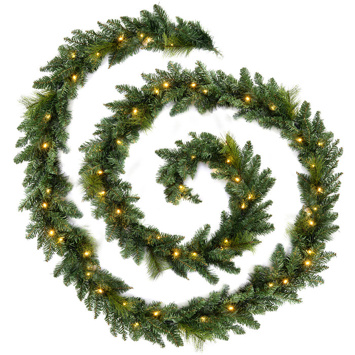 Plain Pre-Lit Garland Christmas Decoration with 80 Warm White LED Lights 18 ft - Green