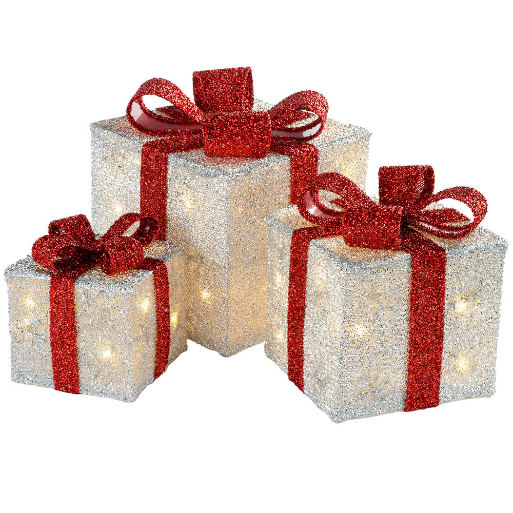 Gift Box Silhouette with 35 Warm White LED Lights and Tinsel Christmas Decoration, Set of 3, White