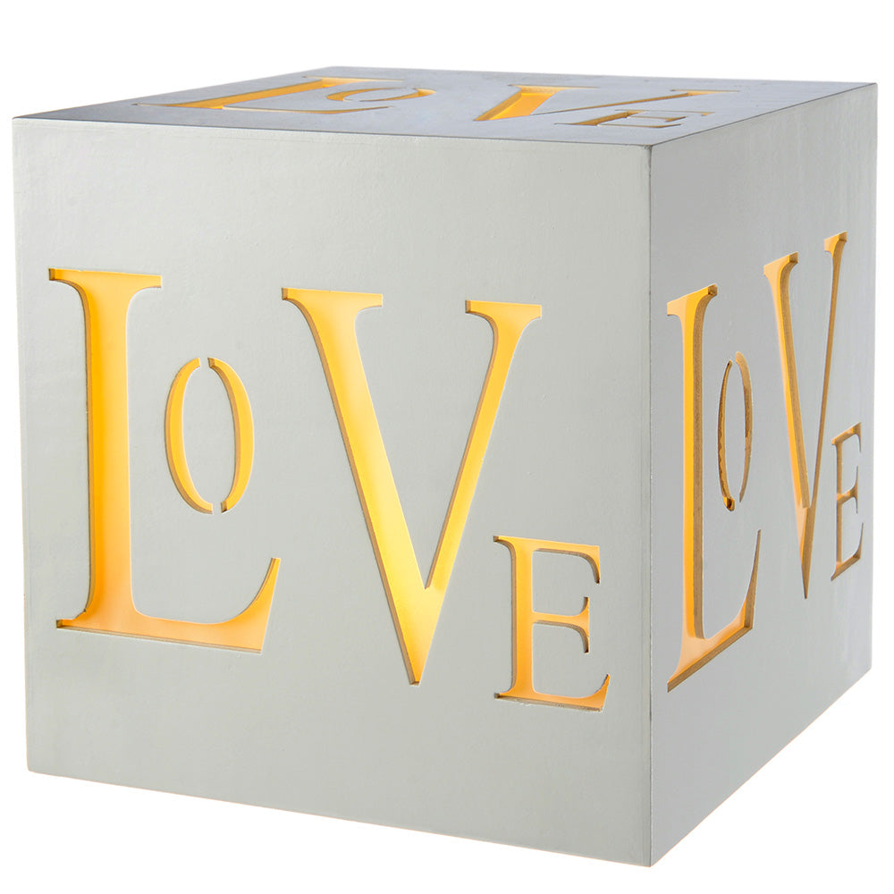 Pre-Lit LED Love Block Decoration, Wood, 20 cm - White
