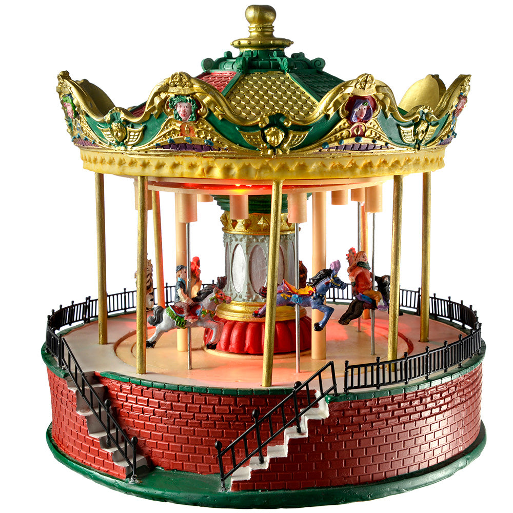 Pre-Lit LED Animated Carousel Christmas Decoration, 26 cm