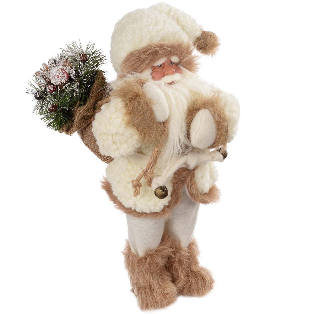 30 cm Standing Santa with Gift Sack in Fur Outfit Decoration, White/ Brown