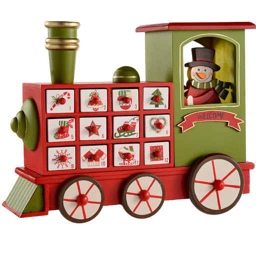 Wooden Train Advent Calendar Christmas Decoration, 30 cm - Multi-Colour