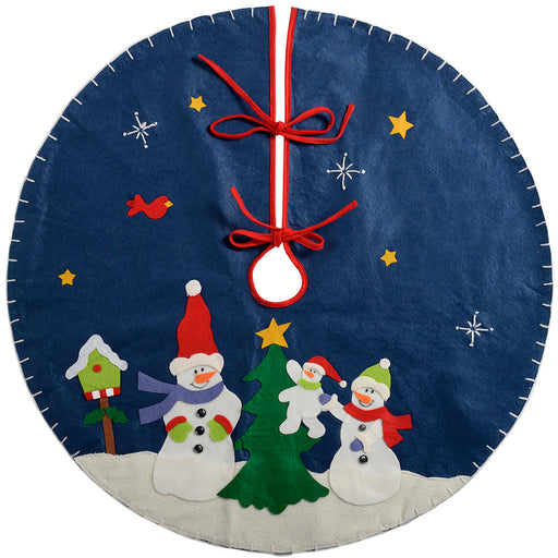 Snowman Christmas Tree Skirt Decoration, 90 cm - Regular, Blue