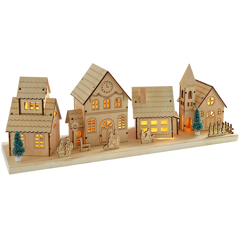 Pre-Lit Wooden Village Scene Illuminated with 10 Warm White LED Lights