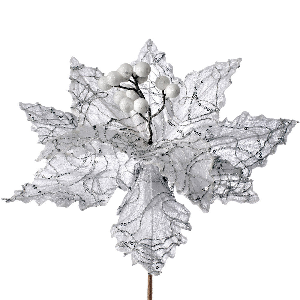 Artificial Poinsettia Christmas Tree Flower Decoration, White, 32 cm