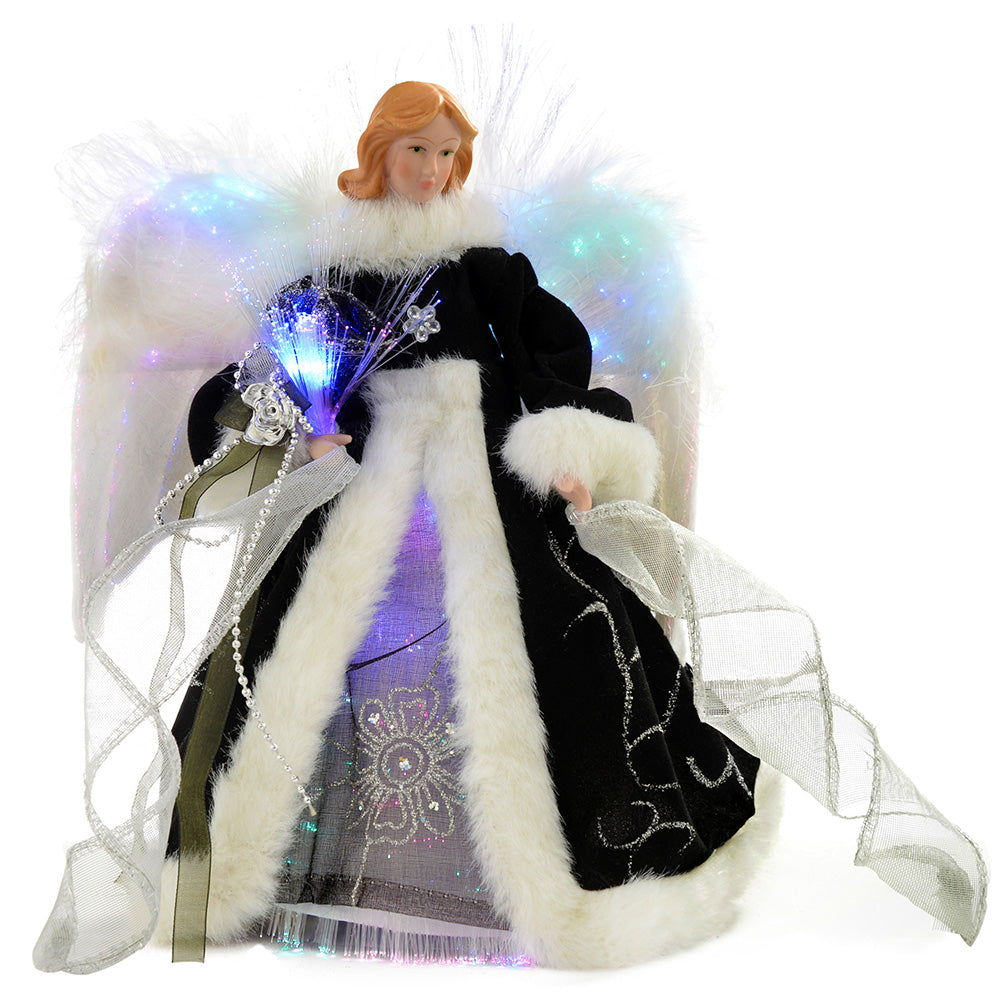 Fibre Optic Christmas Tree Top Topper Angel with Feather Wings, 25 cm - Black/Silver