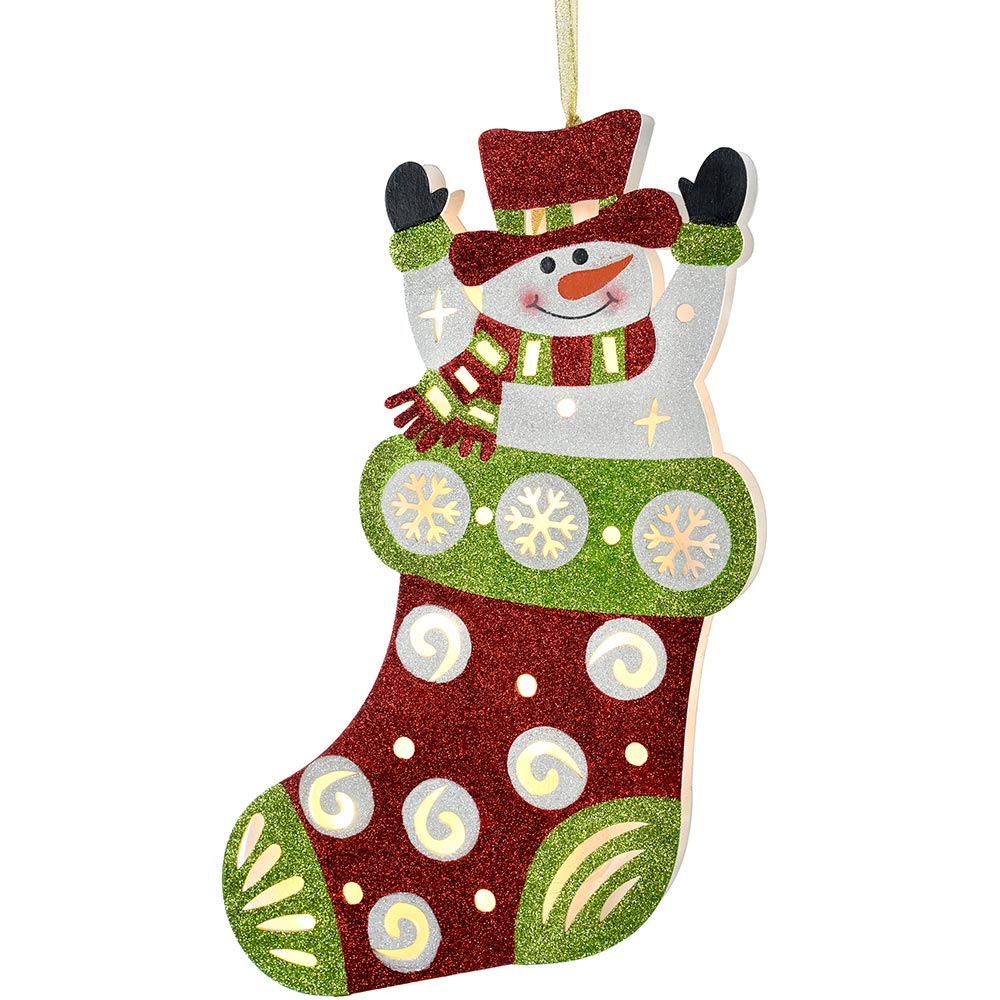 Pre-Lit Stocking Hanging Christmas Decoration, 44 cm - Multi-Colour