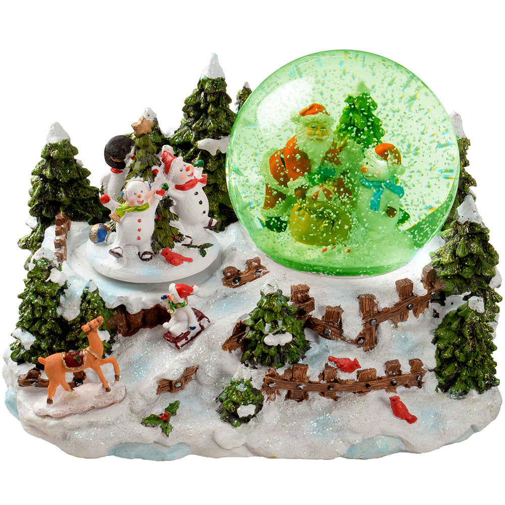 Santa & Snowman Snowing Scene with Snow Globe Christmas Decoration, 22 cm