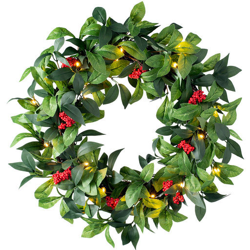 Pre-Lit Leaf & Berry Christmas Wreath with 20 Warm White LED Lights 61 cm / 24 inch