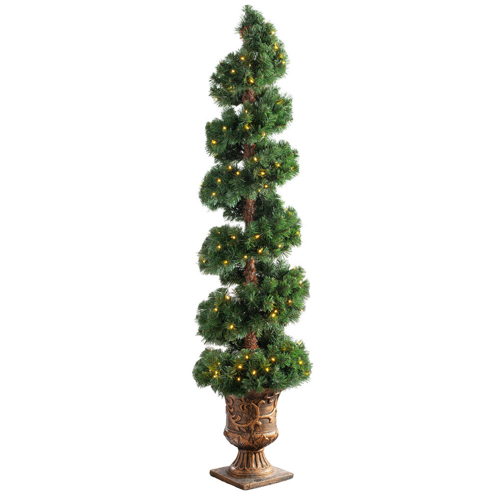 Pre-Lit Spiral Potted Christmas Tree with 150 Chasing Warm LED Lights