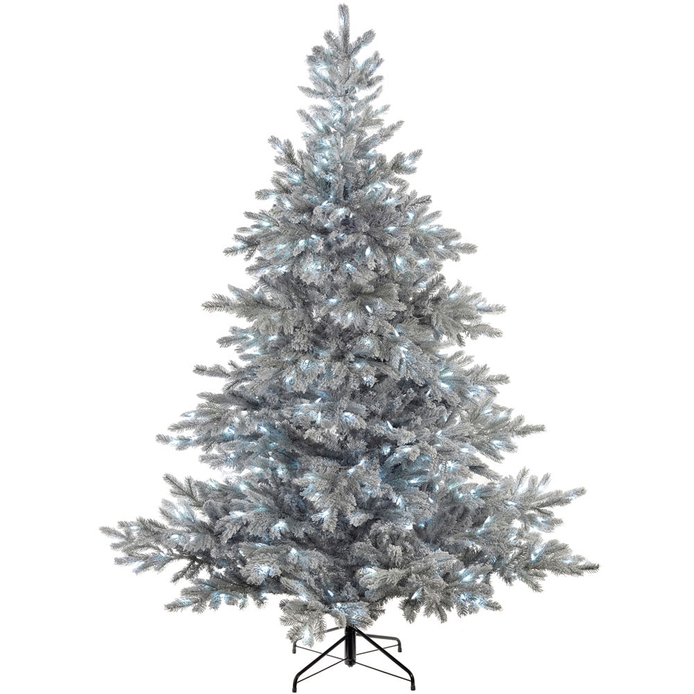 Pre-Lit Frost Vermont Spruce Multi-Function Christmas Tree with Cool White LED Lights