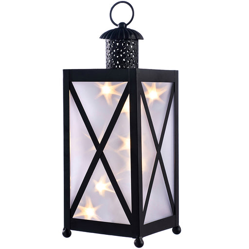 Metal Lantern Christmas Decoration, Rotating LED Lights, Black, 30cm