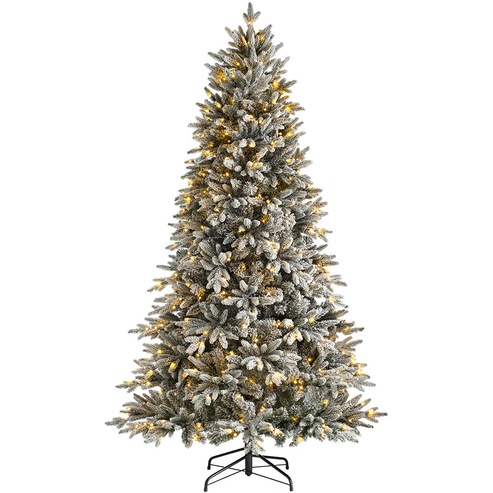 Pre-Lit Slim Snow Flocked Christmas Tree with Chasing Warm LED Lights