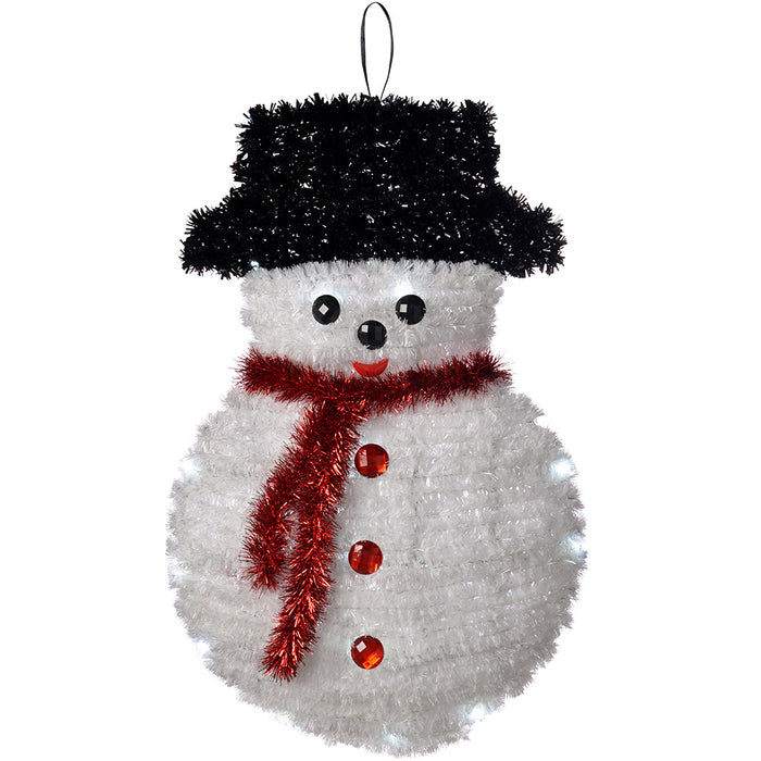 Pre-Lit Tinsel Snowman Hanging Wall Decoration with 20 Bright White LED Lights, 48 cm