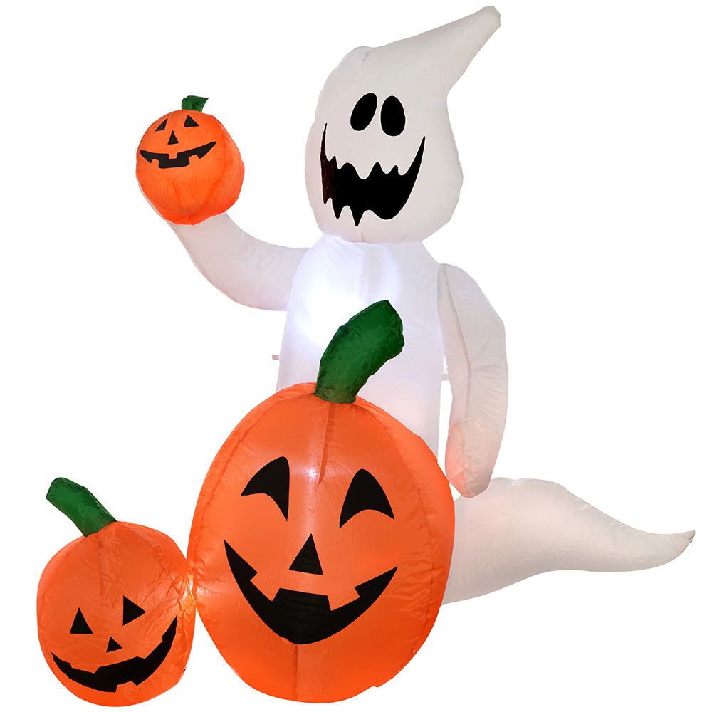 "120 cm Large Pre-Lit ""Ghost and Pumpkins"" Inflatable Halloween Decoration with LED Lights and Fan"