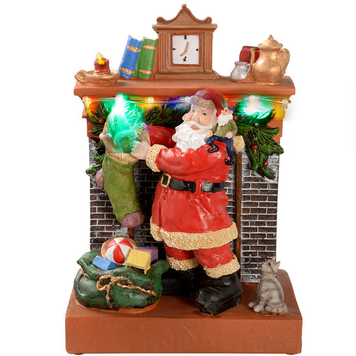 Santa by Fireplace with Stocking Christmas Decoration, 23 cm