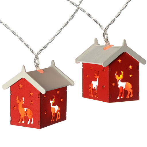 Reindeer Wooden House Light String with 10-LED - Red