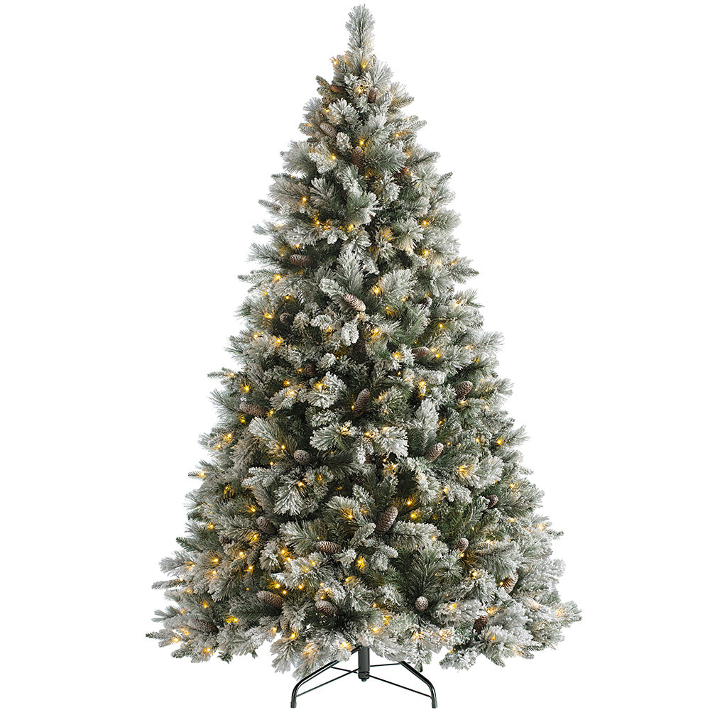 Snow Flocked Mixed Pine Christmas Tree with Chasing Warm LED Lights