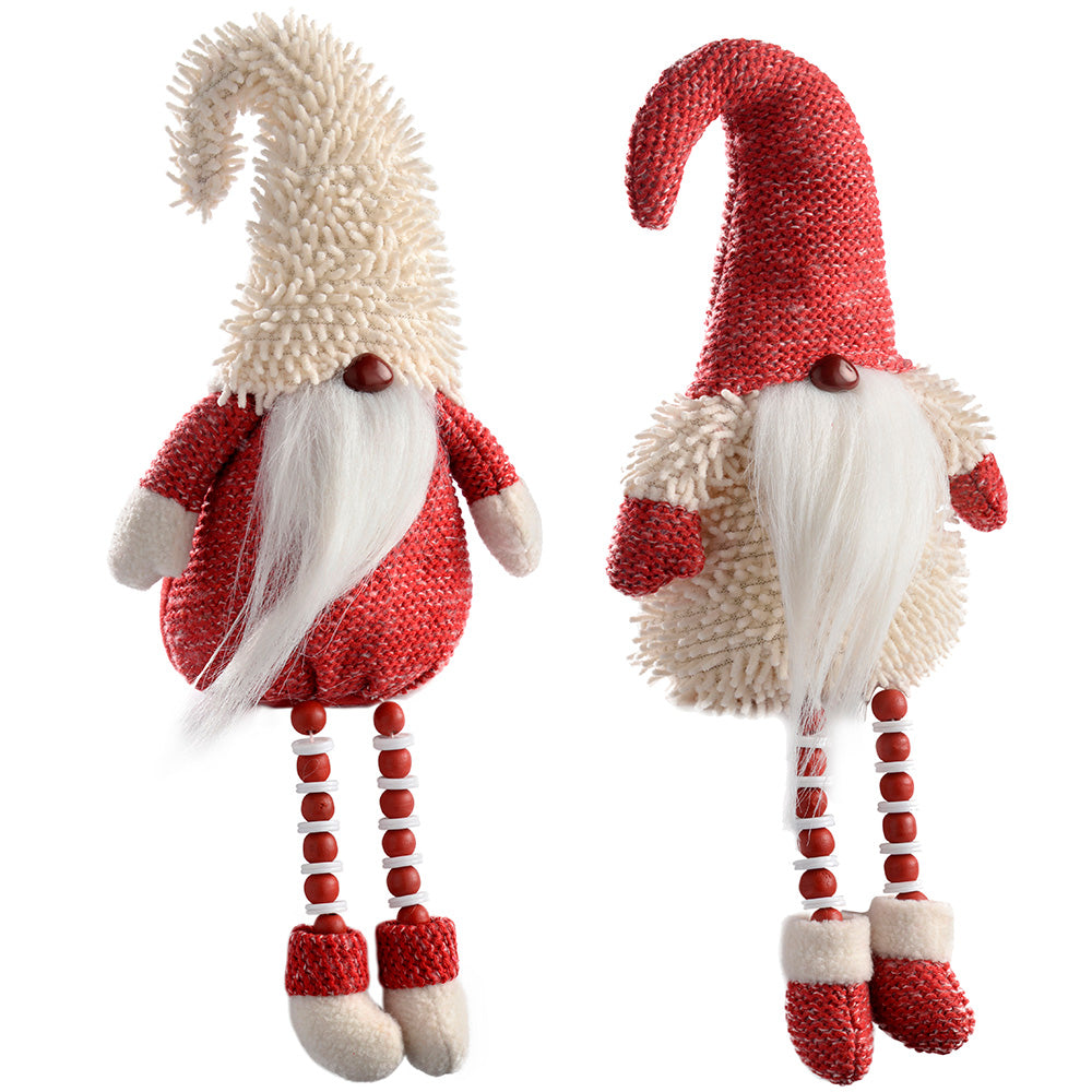 Sitting Santa Gonks with Bead Legs Christmas Decoration, 38 cm - Red/White, Set of 2