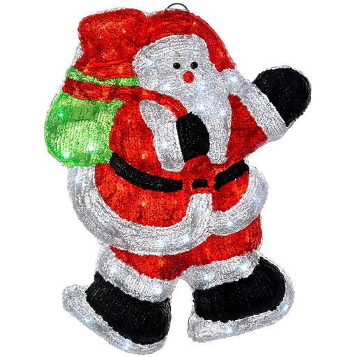 Pre-Lit LED 3D Santa Christmas Decoration, 46 cm - Multi-Colour