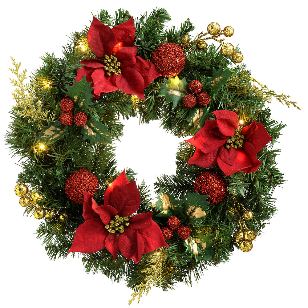 Decorated Pre-Lit Wreath Illuminated with 20 Warm White LED Lights, 60 cm - Red/Gold
