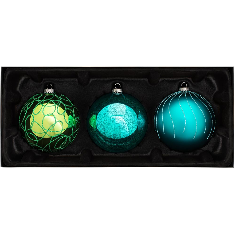 Glass Christmas Tree Traditional Bauble Pack, Set of 3, 12 cm
