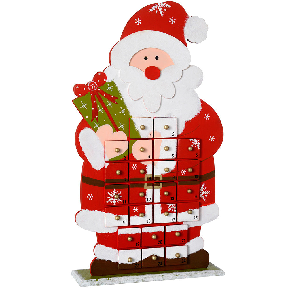 44 cm Wooden Santa Advent Calendar Christmas Decoration, Multi-Colour