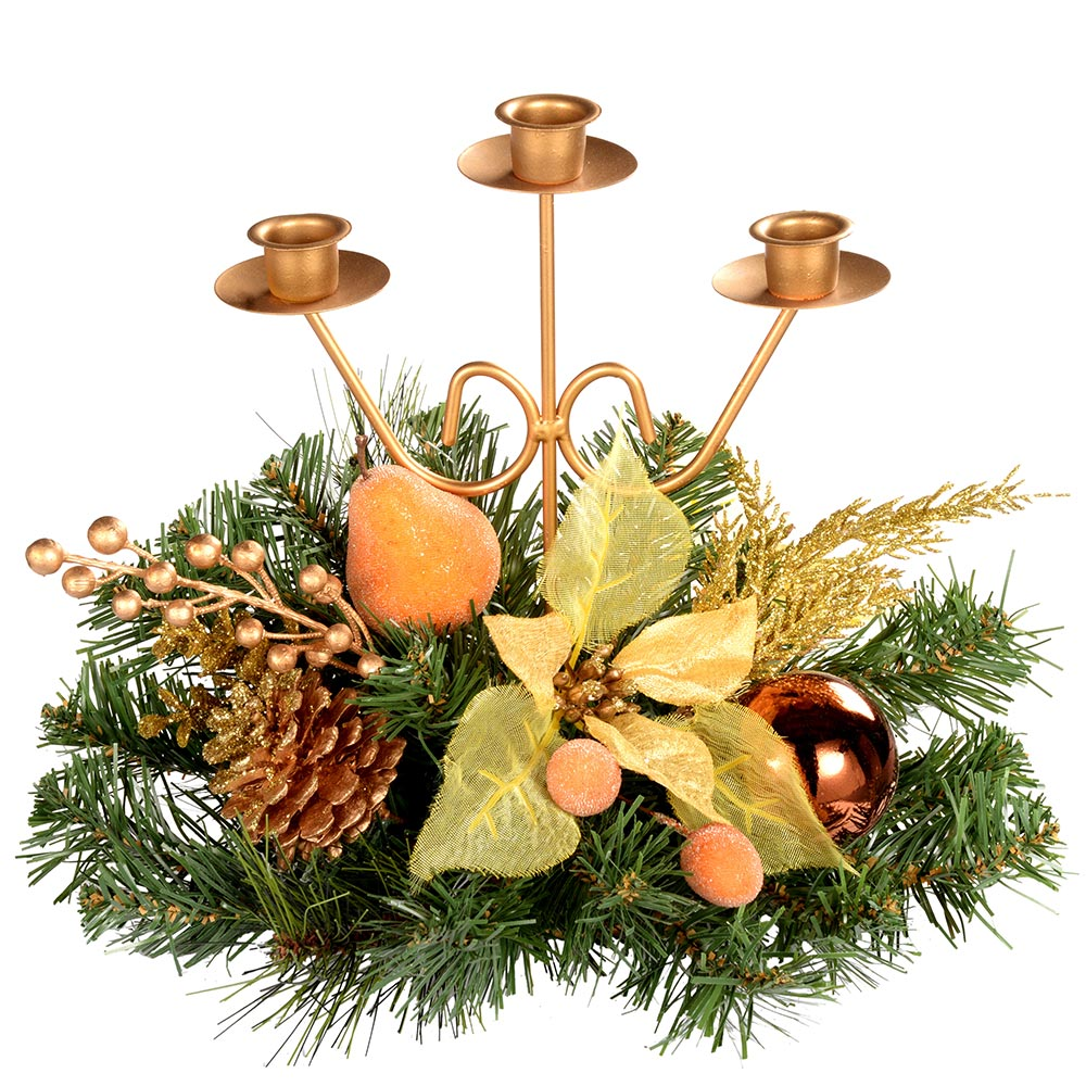 Decorated Table Centre Piece Candle Holder - Copper/ Gold