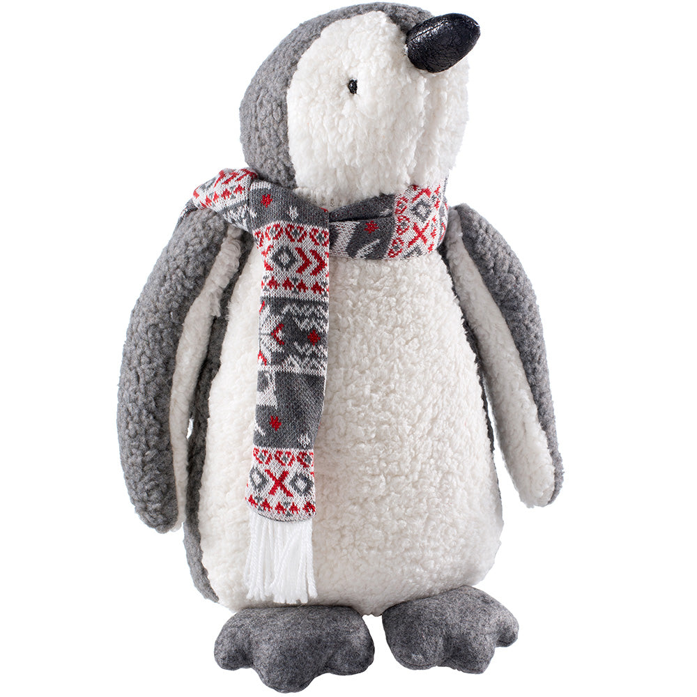 Standing Christmas Penguin Figurine, White and Grey, 38 cm