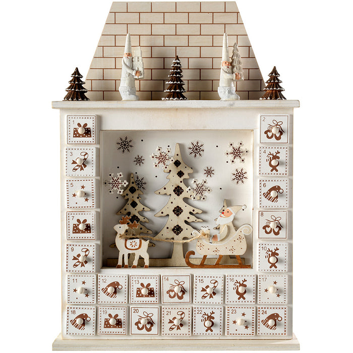 Santa House Advent Calendar Christmas Decoration, 40 cm - White