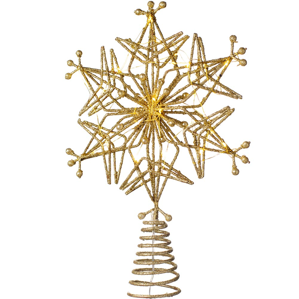 Star Shaped Christmas Tree Topper with 25 Warm White LEDs, 32 cm