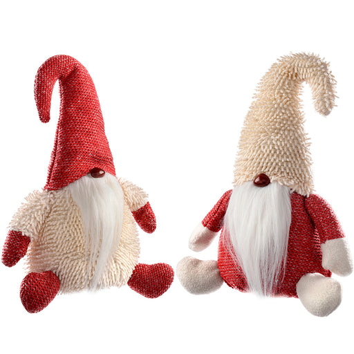 Sitting Santa Gonks Christmas Decoration, 30 cm - Red/White, Set of 2