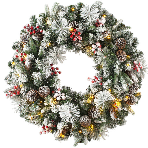 Luxury Pre-Lit Snow Flocked Wreath with 50 Chasing LED Lights & Timer Function 76 cm / 30 inch