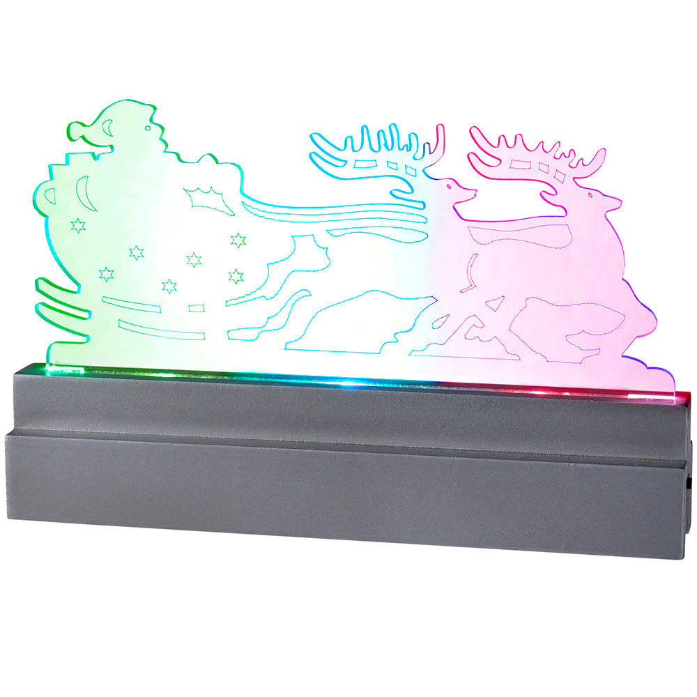 23 cm Pre-Lit Santa in Sleigh with Reindeer Acrylic with Colour Changing LED Lights