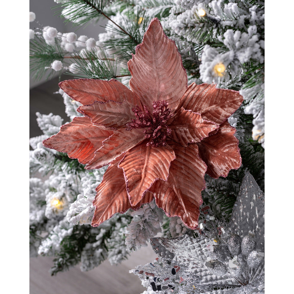 Artificial Poinsettia Christmas Tree Flower Decoration, Pink, 32 cm