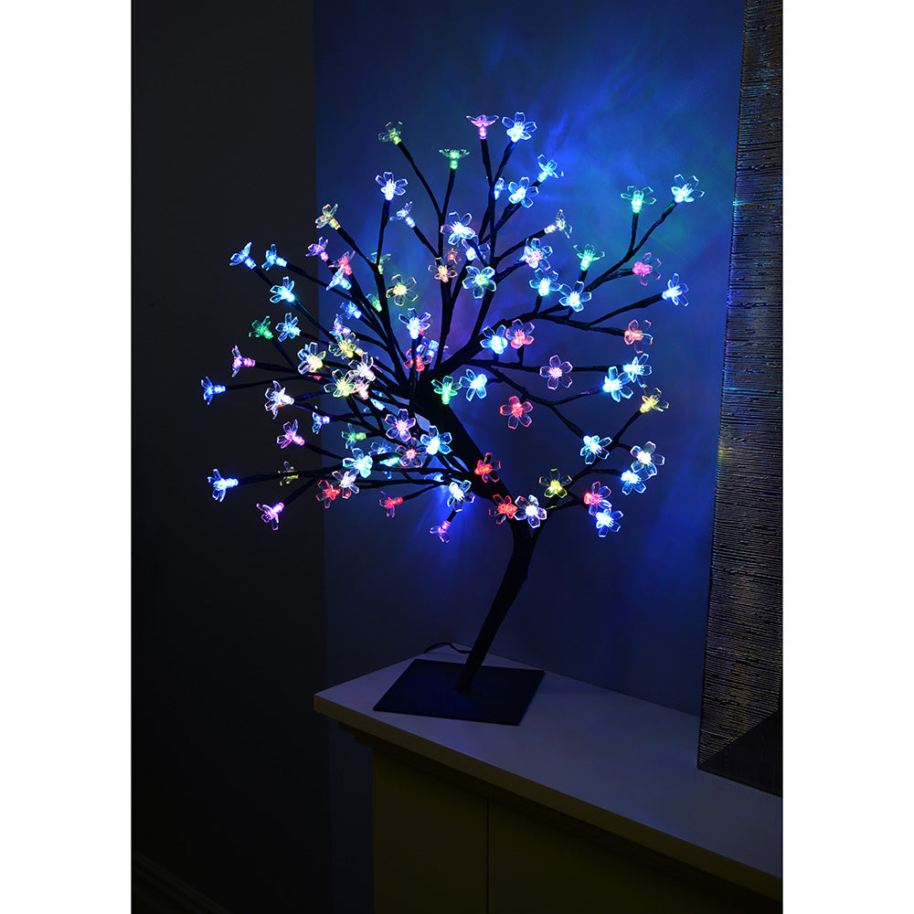 Pre-Lit Illuminated Cherry Blossom Colour Changing Tree with 96-LED, 2 ft/60 cm