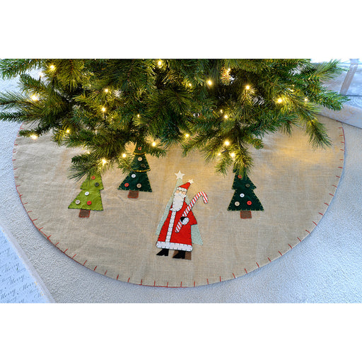 Santa Christmas Tree Skirt Decoration, 122 cm - Brown/Multi-Colour