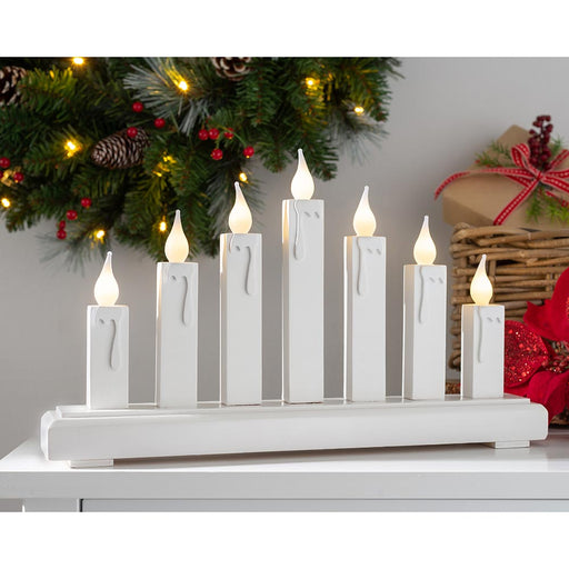 Wooden Candle Bridge Decoration with 7 LED Candles 37 cm