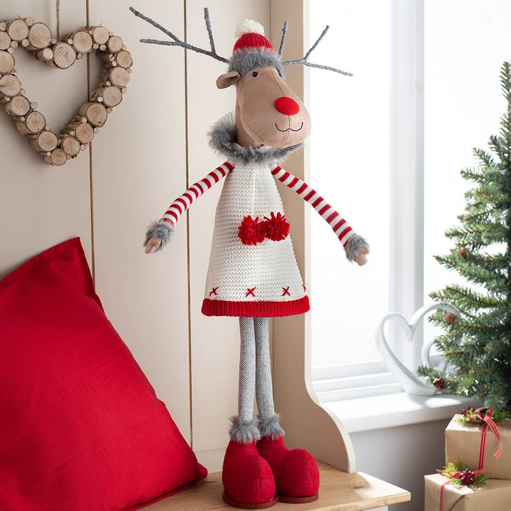 Standing Christmas Reindeer Figurine, Red and Cream, 70 cm