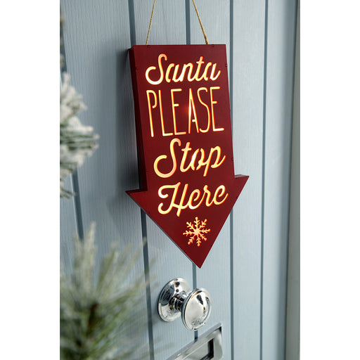 Pre-Lit Hanging Santa Please Stop Here Sign Christmas Decoration, Wood, 31 cm - Red