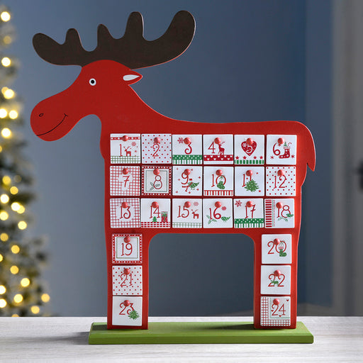 Wooden Reindeer Advent Calendar Christmas Decoration, 39 cm - Multi-Colour