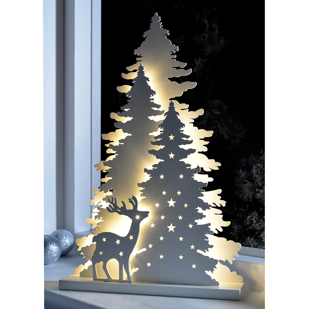 Pre-Lit Tree and Reindeer Scene Table Christmas Decoration, Wood, 46 cm - White
