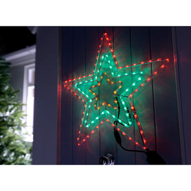 Pre-Lit LED Animated Flashing Star Rope Light Silhouette, 72 cm - Multi-Colour