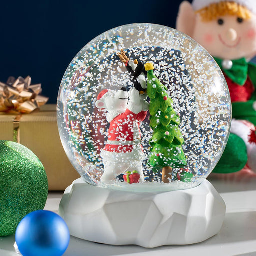 Polar Bear Snowglobe Christmas Decoration 14 cm
