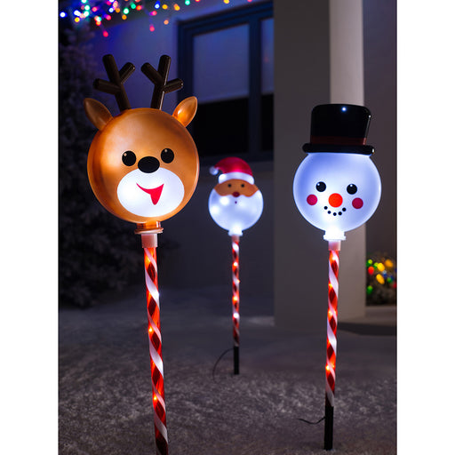 Reindeer Santa Snowman Pathway Christmas LED Lights, Set of 3, Multi Colour