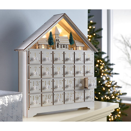 35.5 cm Pre-Lit Wooden Village Scene Advent Calendar Christmas Decoration, White