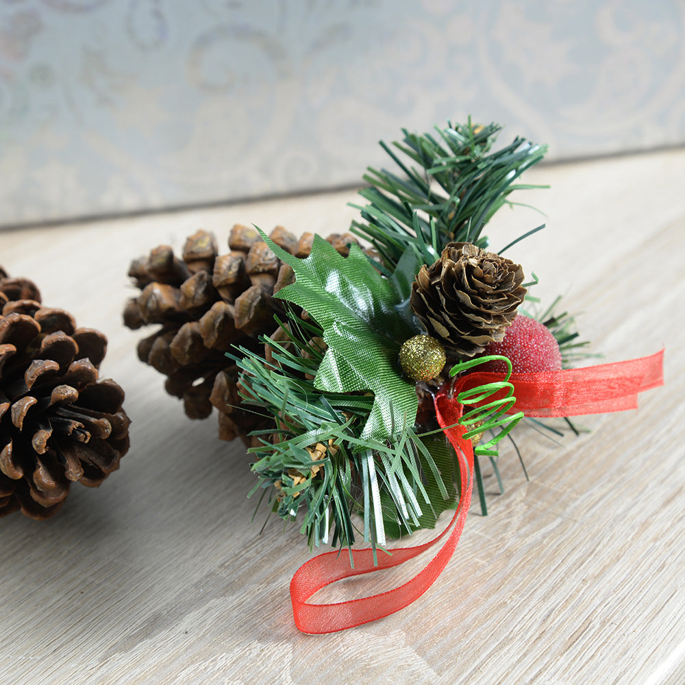 Decorated Pine Cone Christmas Decoration - Gold/Red, Pack of 5